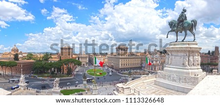Landmarks of Rome .Panoramic view  of piazza Venezia and Trajan market Stock photo © Freesurf