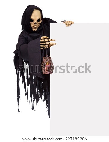 Grim reaper holding banner blank. death and white blank. skeleto Stock photo © popaukropa