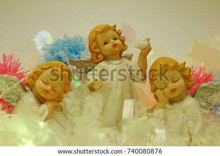 árvore de natal brinquedos dourado anjo isolado branco Foto stock © TanaCh