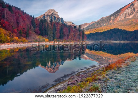 majestic view of alpine village location swiss alps lauterbrun stock photo © leonidtit
