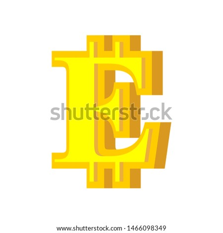 E letter bitcoin font. Cryptocurrency alphabet. Lettering virtua Stock photo © popaukropa