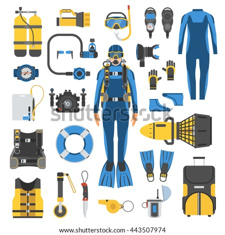 Diving Equipment Set Vector. Scuba Diver Accessories. Mask, Tube, Buoy, Starfish, Fish, Underwater G Stock photo © pikepicture