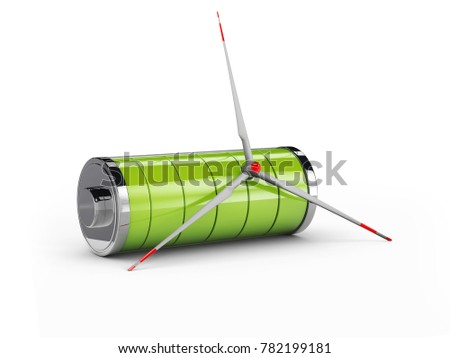 3d Illustration of Screw from a windmill with full green battery, isolated black Stock photo © tussik