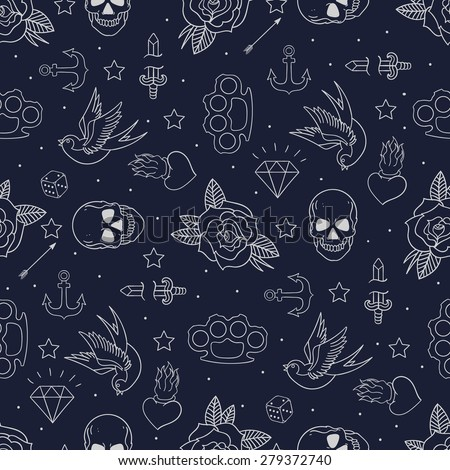tattoo seamless pattern. Skull and brass knuckles. Rose and hear Stock photo © popaukropa