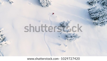 Winter Sport. Ski Pass. Mountain landscape. Snowboarder in motion. Vector illustration. Stock photo © Leo_Edition