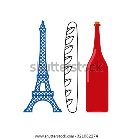 Zdjęcia stock: Francja · banderą · turystycznych · Wieża · Eiffla · bagietka · butelki