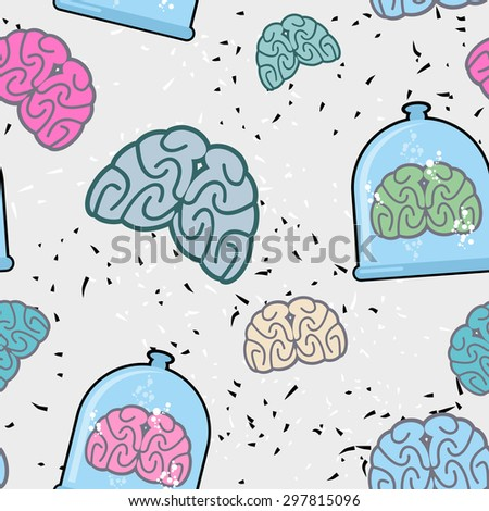 Laboratory of  pitcher and  human brain in a jar seamless patter Stock photo © popaukropa