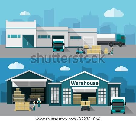 倉庫 · 建物 · 送料 · プロセス · ビジネス · 車 - ストックフォト © marysan