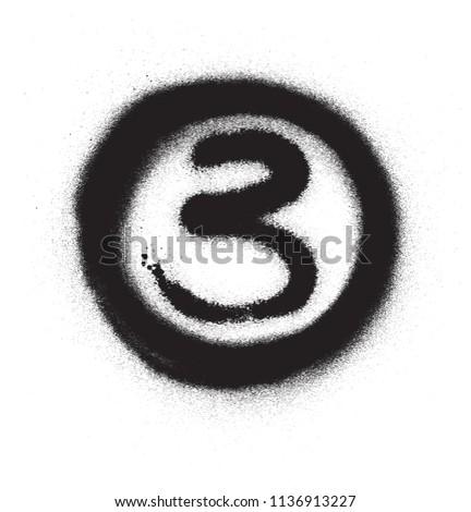 Graffiti aantal drie cirkel zwart wit kunst Stockfoto © Melvin07