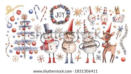 Сток-фото: набор · Cute · рождественская · елка · красочный · Новый · год