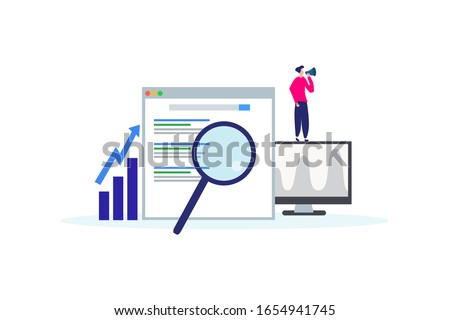 Flat isometric vector landing page template of seo rank tracking tool. Stock photo © TarikVision