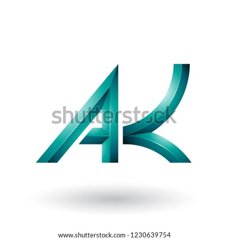 Persian Green Bold and Curvy Geometrical Letter A Vector Illustr Stock photo © cidepix