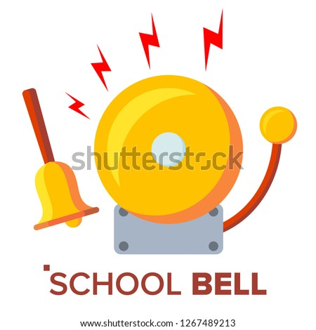 School Bell, Ring Vector. Ringing Classic Electric Bell And Hand Gold Metal Ring Isolated Cartoon Il Stock photo © pikepicture
