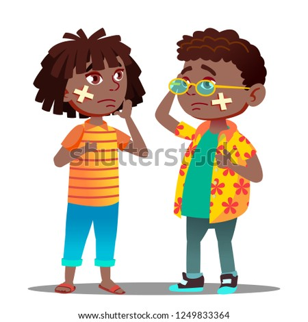 Sad Black Afro American Child Girl, Boy With Cross With Scratch And Cross Medical Patch On Cheek Vec Stock photo © pikepicture