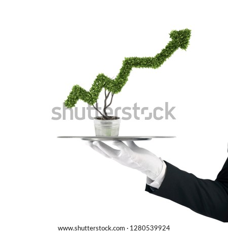 Stock photo: Waiter that holds a tray with a plant shaped as statistic arrow. Concept business success