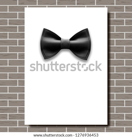 Bow Tie Poster Vector. Empty White A4. Black Bow Tie. Classic Satin Butterfly. Place For Text. Brick Stock photo © pikepicture