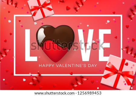Web banner for Valentine's Day. Chocolate heart and confetti, vector illustration. Stock photo © ikopylov