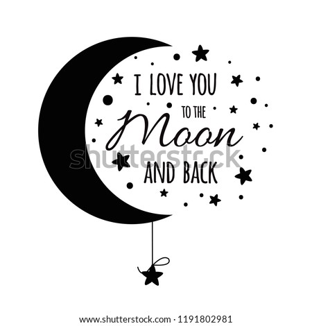i love you to the moon and back cute positive lover slogan with full moon and lovers in hot air us stock photo © ikopylov