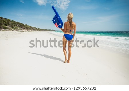 Bikini woman with large pointing finger on the beach in Australi Stock photo © lovleah