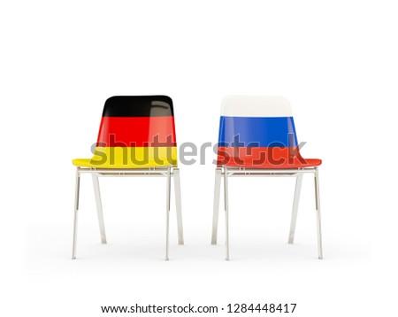 Dwa krzesła flagi Niemcy Rosja odizolowany Zdjęcia stock © MikhailMishchenko