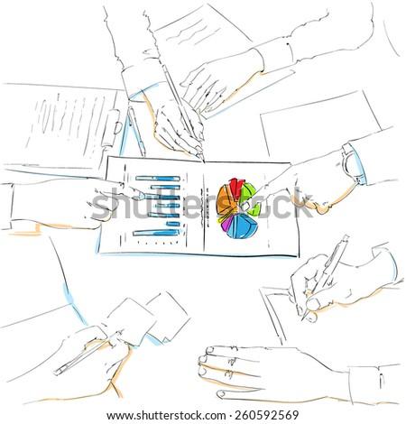 ビジネスマン 図面 円グラフ プロジェクト プレゼンテーション ストックフォト © RAStudio