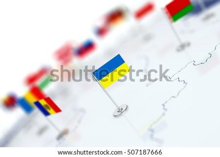 フラグ eu ウクライナ 白 孤立した 3D ストックフォト © ISerg