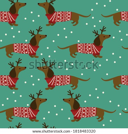 Stock photo: Vector seamless pattern with blue snowflakes on white background for winter and Christmas background