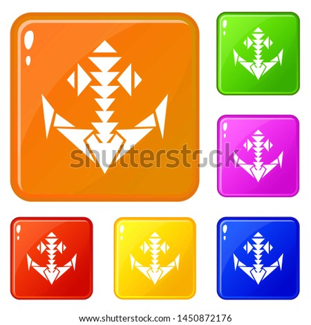 Set of arrows harpoon isolated on white background. The souvenir is made of gold. Vector cartoon clo Stock photo © Lady-Luck