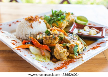 traditional balinese cuisine vegetable and tofu stir fry with rice banner long format stock photo © galitskaya