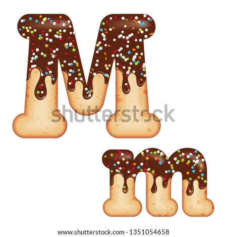 Tempting typography. Font design. 3D donut letter M glazed with  Stock photo © balasoiu