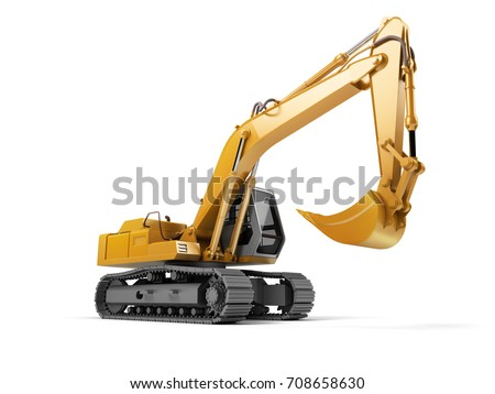 Сток-фото: Yellow Excavator on Tracks Isolated on White. Side View of Front Hoe Loader. Industrial Vehicle. Con