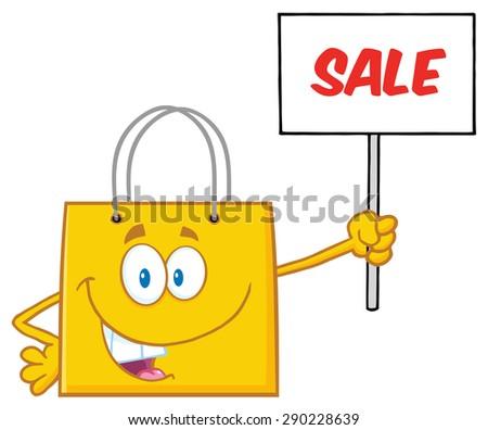 Citromsárga bevásárlószatyor rajzfilmfigura magasra tart üres tábla szöveg Stock fotó © hittoon