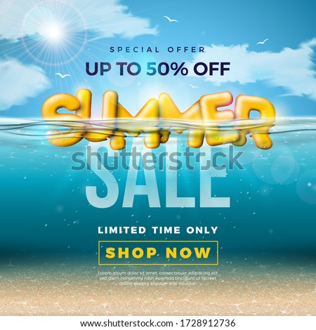 summer sale design with 3d typography letter in underwater blue ocean background vector special off stock photo © articular