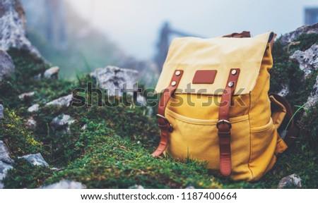 Borrão imagem viajante mochila relaxante ao ar livre Foto stock © Freedomz