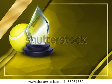 Tennis Certificate Diploma With Glass Trophy Vector. Sport Vintage Appreciation. Modern Gift. Print  Stock photo © pikepicture