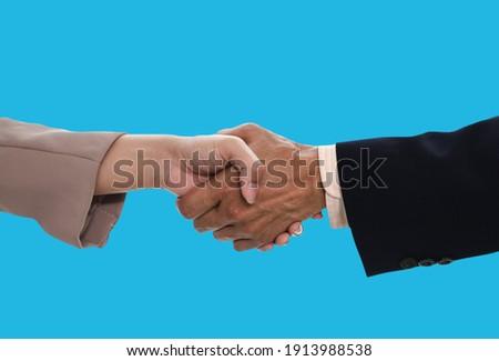 Biznesmenów drżenie rąk niebieski podwoić ekspozycja Zdjęcia stock © Freedomz