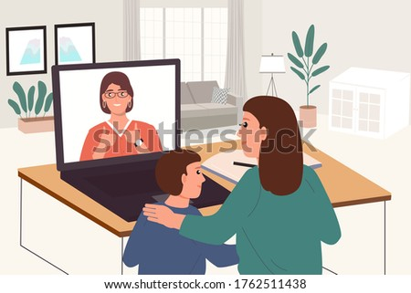 Stock photo: Teacher, tutor for home schooling Boy and girl at the table. Or mother, daughter and son. Homeschool