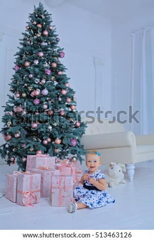 Portrait of happy mother and adorable baby celebrate Christmas. New Year's holidays. Toddler with mo Stock photo © galitskaya