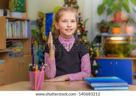 Widok z tyłu ręce biurko klasie szkoła podstawowa Zdjęcia stock © wavebreak_media