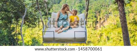 Banner długo format matka syn dżungli Zdjęcia stock © galitskaya