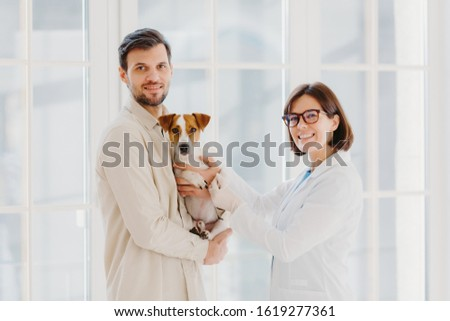 Vetarinary and animal healthcare concept. Happy smiling female vet care about dogs health, going to  Stock photo © vkstudio