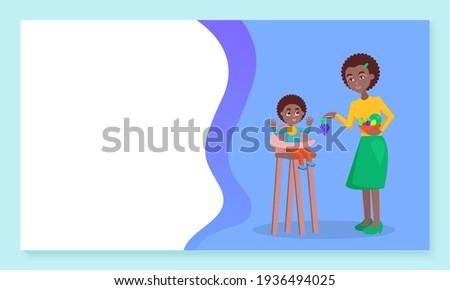 Przewodnik baby matka dać owoce Zdjęcia stock © robuart