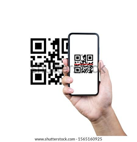 Kéz okostelefon qr kód szkenner alkalmazás vektor Stock fotó © karetniy