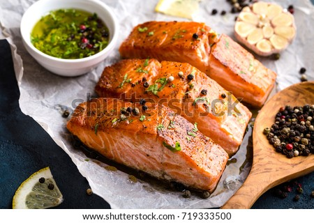 Grilled salmon steak Stock photo © olira