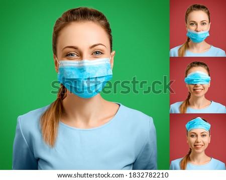 Indossare medici faccia maschera Foto d'archivio © Len44ik