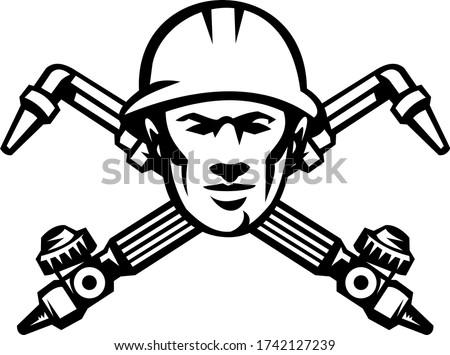 Soudage lampe de poche tête rétro Photo stock © patrimonio