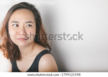 Close up shot of attractive female model shows her sensuality and feminine features, has healthy glo Stock photo © vkstudio