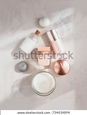 Candles and skincare products on table Stock photo © dashapetrenko