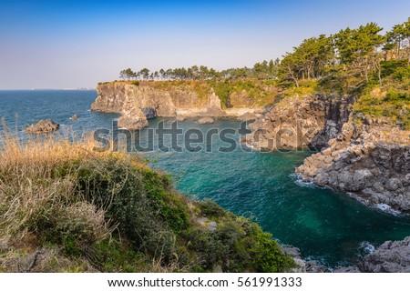 Rocha ilha Coréia do Sul atração turística paisagem mar Foto stock © dmitry_rukhlenko