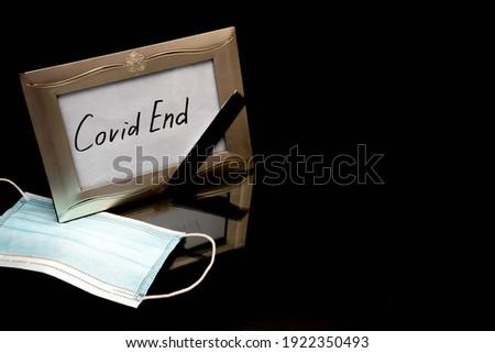 Quarantine is over. White inscription on a black background. Corona Virus COVID-19. Self quarantine  Stock photo © galitskaya